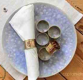 סט 6 טבעות-חבקים דקורטיביות ימיות למפיות שולחן